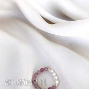 pierścionek - różowy turmalin
