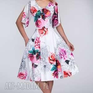 sukienka alisa midi delicja, ramiona, midi, rozkloszowana, kwiaty, koło, kieszenie