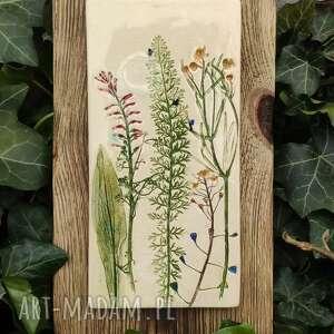 obrazek majowe kwiaty polne, obrazek, na desce, ceramiczny