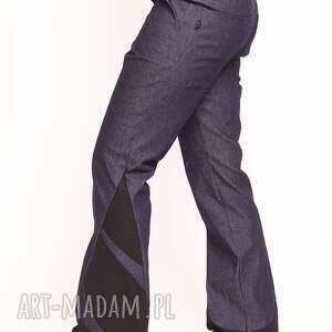 granatowe spodnie dzwony r. S/M, dzwony, rozszerzane, jeansowe, wstawki, boho