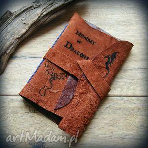 notes a6 ze skórzaną miękką okładką mommy of dragons - ręcznie robiony i malowany