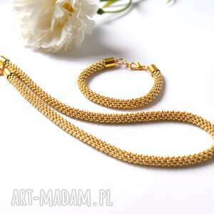 komplety naszyjnik i bransoletka koralikowa w złocie
