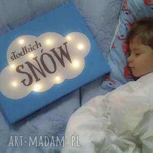 Prezent ŚWIECĄCY OBRAZ SŁODKICH SNÓW prezent lampa dziecko, chmura, lampka, obraz
