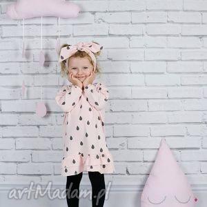 ręcznie robione ubranka sukienka dla dziewczynki krople 86-98