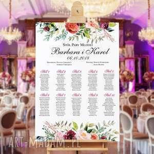 ślub plan stołów - plakat 50x70 cm romantyczne kwiaty, stołów