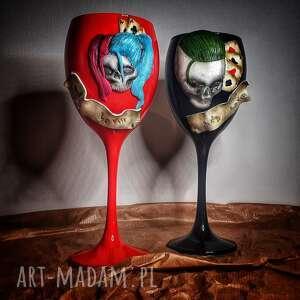 hand made szkło komplet kieliszków harley &joker