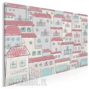 obraz na płótnie - malownicze miasteczko 120x80 cm 57801, domki, komiks