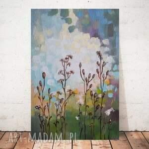 łąka-obraz akrylowy formatu 20/30 cm, łąka, trawy, obraz