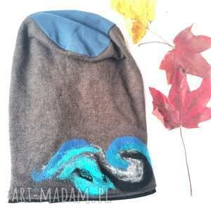 czapki czapka wełniana handmade-czapka handmade na podszewce, rozmiar