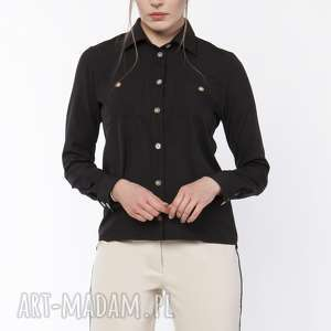 ubrania koszula damska z dłuższym tyłem, k113 czarny, czarna, elegancka