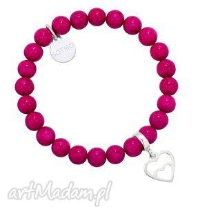 sotho ciemno różowa bransoletka ze srebrnym serduszkiem, bransoletka, różowa, serce