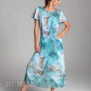 sukienki długa letnia sukienka trapezowa z szyfonu w kolorze turkusowym krótkim rękawem