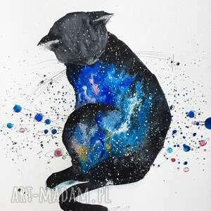 co jest w kocie akwarela artystki adriany laube - kot, kosmos, wszechświat, kot