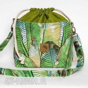 torebka listonoszka liście bananowca z kominem welur tapicerski