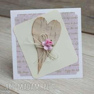 Różowa kartka z sercem, brzozowe, serce, serduszko, romantyczna, kartka, walentynka