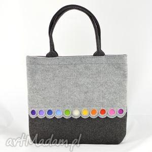 na zakupy torba filcowa - xl z kolorowymi kropkami, filc, filocwa, kolorowa