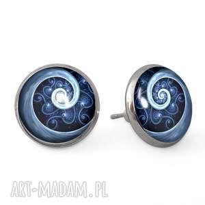 egginegg niebieska spirala - kolczyki wkrętki - biżuteria, szklana