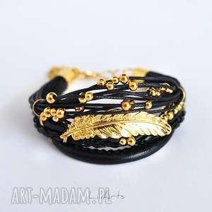 bransoletka - piórko czarna, złota, bransoletka, sznureczki, rzemienie