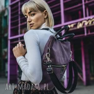 plecak / torba 2 w 1 z nubuku tapicerskiego śliwkowy, plecak, torebka
