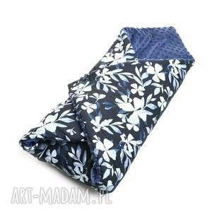 ręcznie robione dla dziecka becik otulacz rożek minky blue flowers