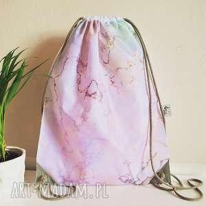 PLECAK - RÓŻOWY MARMUR, plecak, worek, torba, marmur, róż, kamień