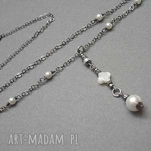 Pearl white - naszyjnik, srebro, perły, swarovski, delikatny