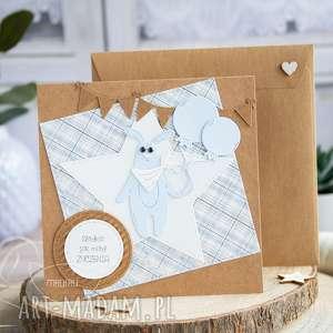 mrufru wesoła kartka z królikiem na każda okazję, urodzinowa, prezent