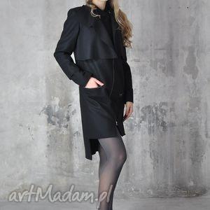 płaszcze saruni - płaszcz wełniany z kaszmirem, płaszcz, czarny, zimowy, wełna