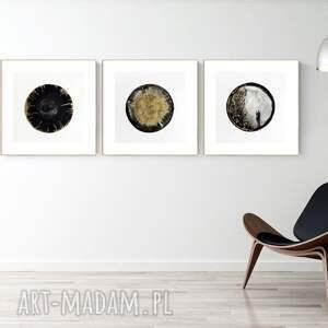 zestaw 3 grafik 40x40 cm wykonanych ręcznie, grafika czarno-biała, abstrakcja