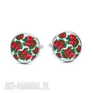 Spinki do mankietów róża ludowelove kwiaty, homemade, ludowe