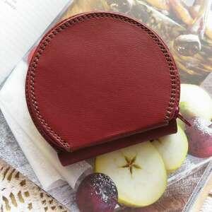 portfele portmonetka skórzana pumpkin bordowa, skórzana, portfel