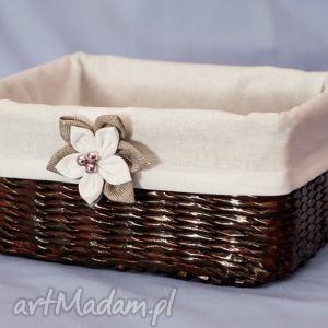 prostokątny koszyk eko koszyczek z kwiatuszkiem - przechowywanie pudełko