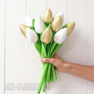 dekoracje złote tulipany, tulipan, złote, bukiet, złoty, prezent