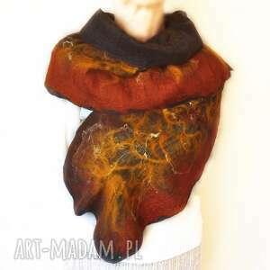 AleksandraB - szal nuno ręcznie filcowana wełna, filcowany, merynosów rękodzieło