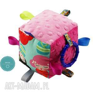 zabawki kostka sensoryczna gryzak, wzór kokeshi, kostka, sensoryczna, kokeshi