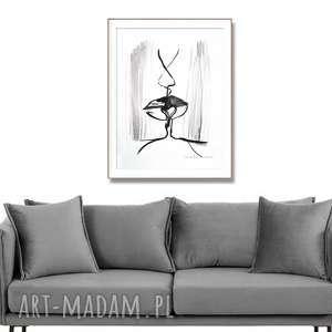 grafika pocałunek 6, czarno biała, 42 x 56, abstrakcja, elegancki minimalizm