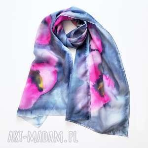 handmade szaliki jedwabny malowany szal - różowe maki