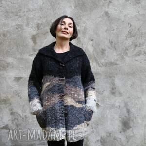 swetry sweteer beż, brąz grafit sweter, dzianina, wełna, unikat, prezent