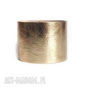 hand-made bransoletka skórzana złota lustro mankiet