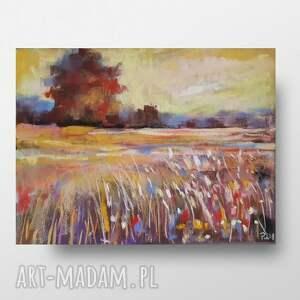 magiczna łaka-praca wykonana pastelami, pastele, papier, łąka, kwiaty