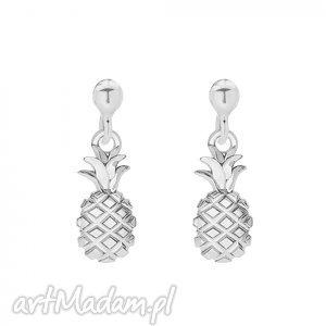 srebrne kolczyki z ananasami - ananaski, sztyfty srebro