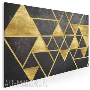 obraz na płótnie - trójkąty geometryczny złoto 120x80