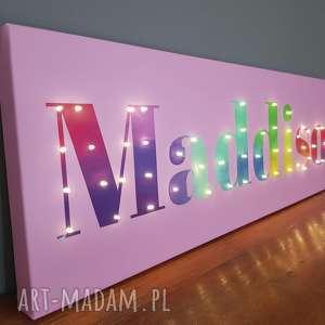 napis led xl imię tęczowe świecące litery obraz dekoracja lampa personalizowany