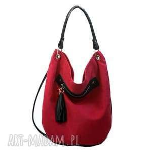 Worek czerwony, torebka, worek, alkantara, skóra, pojemna, praktyczna