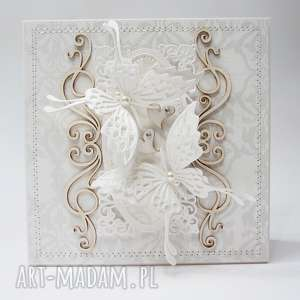 Z motylami - kartka w pudełku scrapbooking kartki marbella