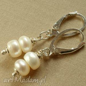 Kolczyki ze srebra i perełek, delikatne, lekkie, na, komunię