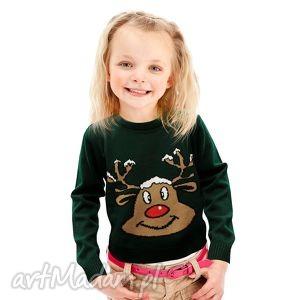 sweterek świąteczny dziecięcy - zielony renifer, śmieszny, zabawny, ciepły