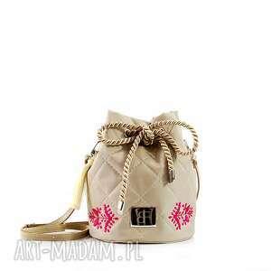na ramię torebka pikowana mini taszka 402, mini, pikowana, worek, kłos, haft