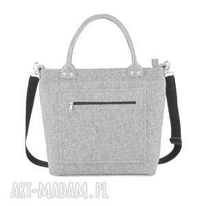 elegancka szara filcowa torebka, filc, elegancka, klasyczna na ramię