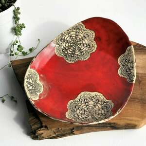 misa ceramiczna z koronką, ceramika, patera, miska, misa, prezent, kuchnia